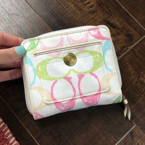 Coach white signature pastel wallet